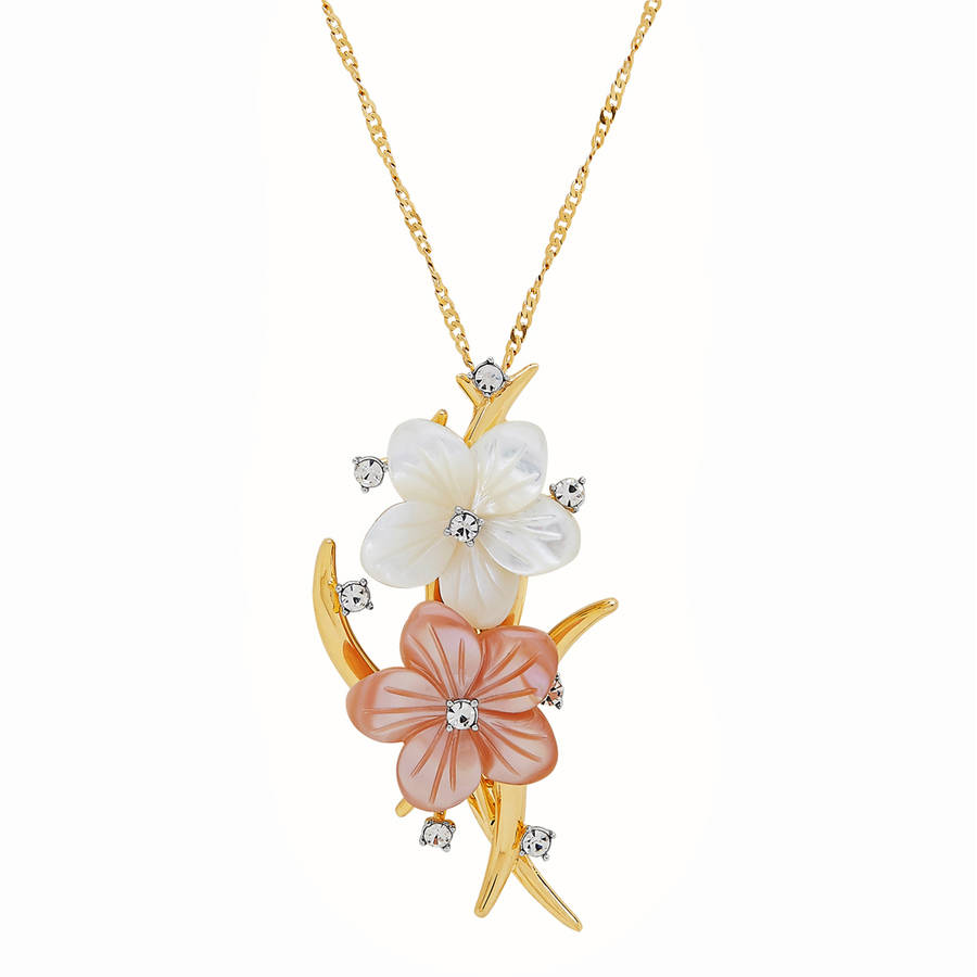 """Women's Mother of Pearl and Crystal Flower Gold over Silver 2-in-1 Pin Pendant, 18"""" by Richline Group Inc"""