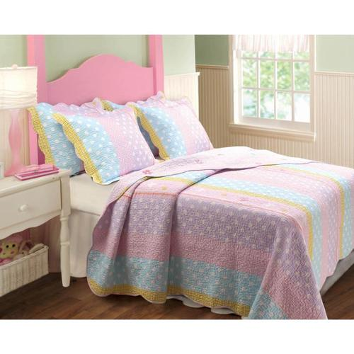 Greenland Home Fashions  Polka Dot Stripe 3-piece Quilt Set