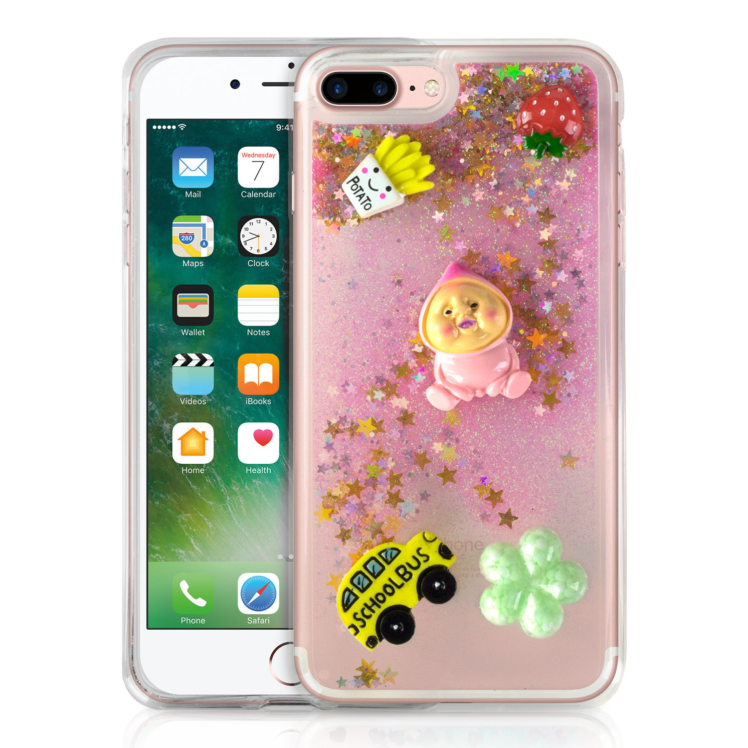 Sojitek Flowing Gold Stars Luxury Sparkling Glitter Cute Strawberry / French fries / Baby / Schoolbus / Cookies Clear Protective Liquid Case for iPhone 7 Plus & iPhone 8 Plus