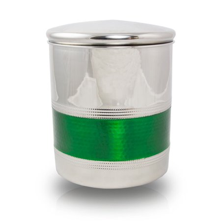 Stainless Steel Cremation Urn - Extra Large 210 Pounds -  Silver Emerald Banded - Engraving Sold Separately