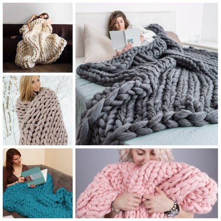 Merino Wool Throw Blanket - Asewin Knit Blanket,Handmade Soft Warm Chunky Knit Blanket Thick Yarn Wool Bulky Bed Spread Throw