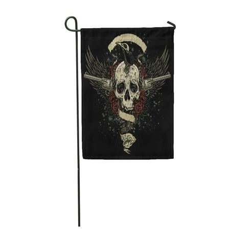 KDAGR Raven Eating Skull Brains Collage of Undead The Out Cracked Garden Flag Decorative Flag House Banner 12x18 - Cracked Skull