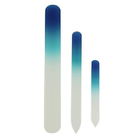 Diamond Nail File - 3pcs  Crystal Glass Nail Files Manicure Set Professional Pedicure File Set Blue