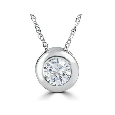 1/4 ct Round Diamond Solitaire Bezel Pendant 14k White Gold W/ 18