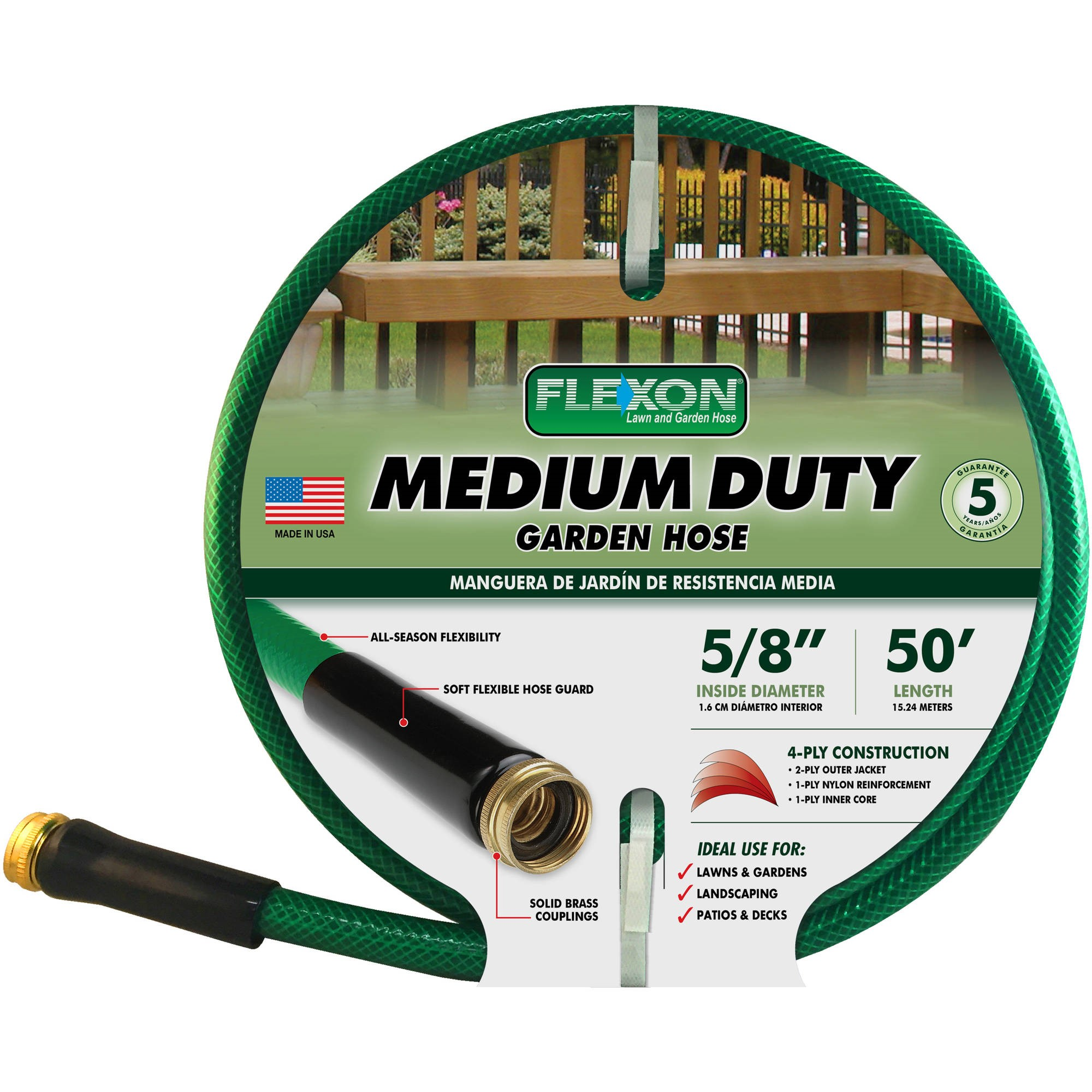 Flexon 50' Medium-Duty Garden Hose, Green