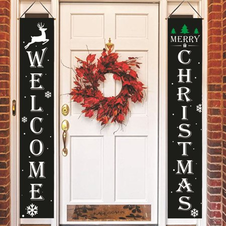 Spencer Merry Christmas Banners, Front Door Welcome Christmas Red Porch Sign Hanging Banner Xmas Decorations for Wall Door Curtain Home Party ()
