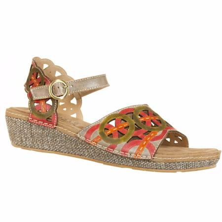 L'Artiste Collection By Spring Step Women's Athens Sandal Olive / Red EU 37 US (Spring Step Olive)