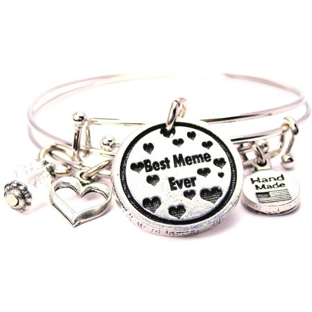 Best Meme Ever With Hearts Bangle Expandable Bangle Bracelet Set  Fits 7 5  Wrist  Chubby Chico Charms Exclusive