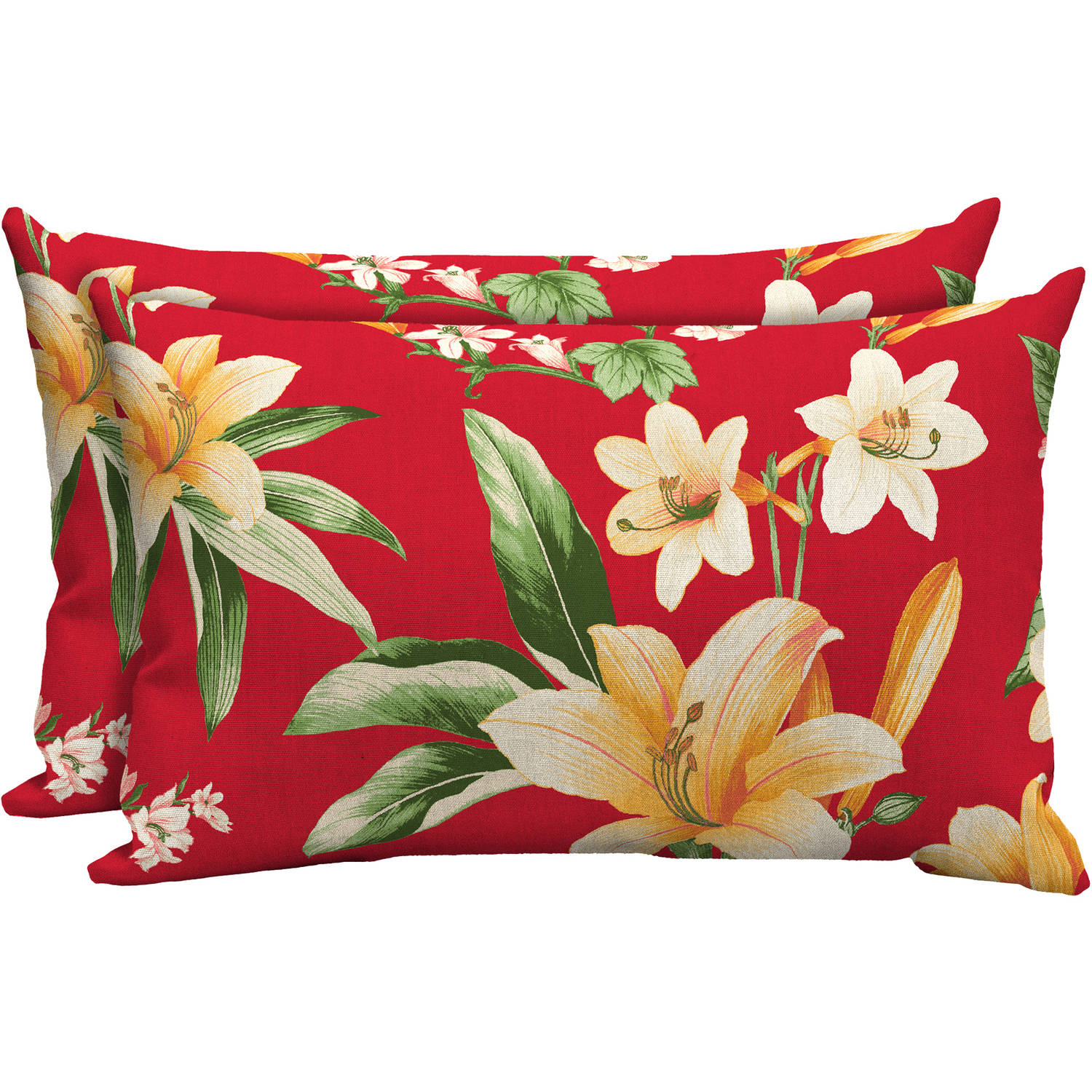 mainstays outdoor patio lumbar toss pillow set of two multiple patterns