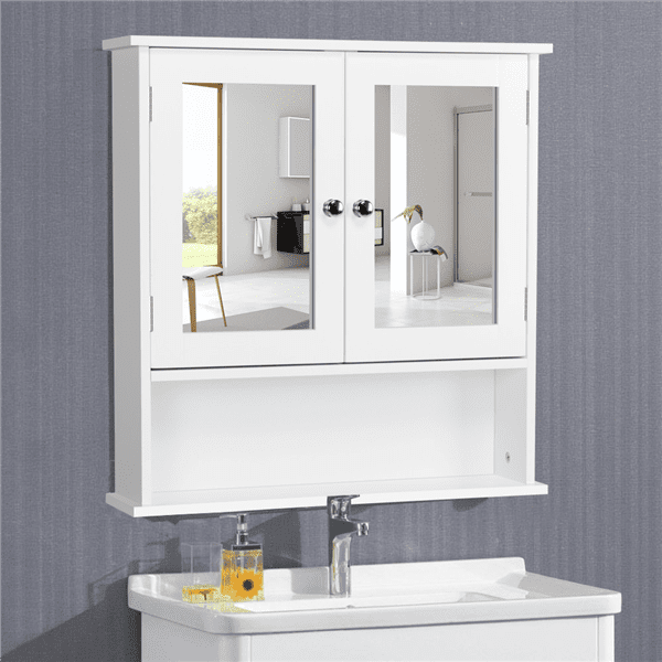 topeakmart wooden wall mount bathroom wall cabinet with