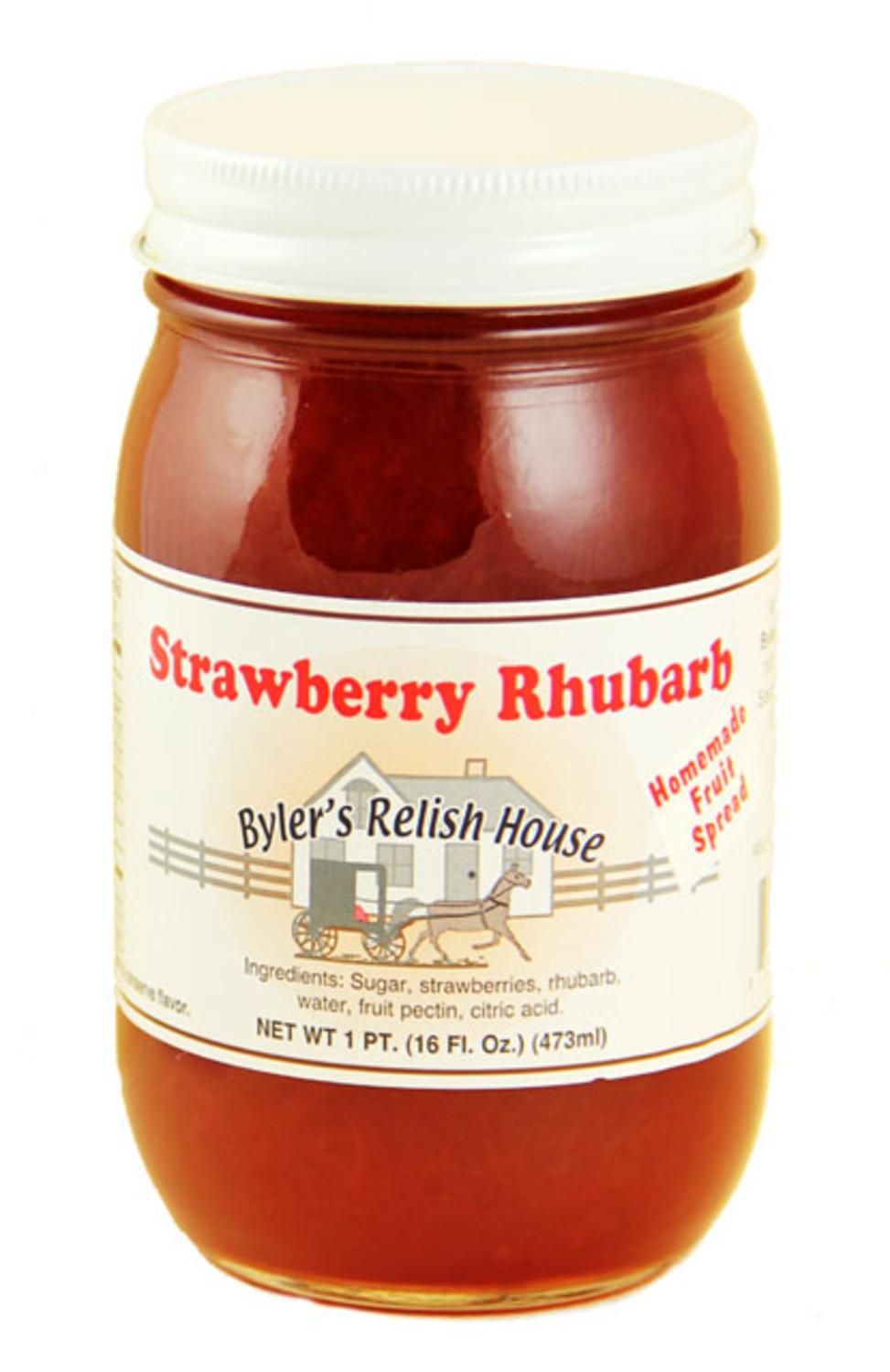 Byler's Relish House Homemade Amish Country Strawberry Rhubarb Jam 16 oz. by Byler's Relish House