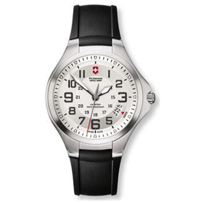 Swiss Army SD-241332 Victorinox Rubber Mens Watch - Silver-Tone Dial With Black Numerals