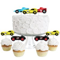 Let's Go Racing - Racecar - Dessert Cupcake Toppers - Race Car Birthday Party or Baby Shower Clear Treat Picks - 24 Ct
