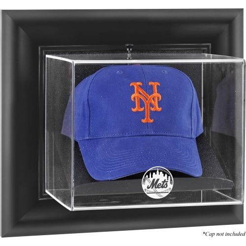 New York Mets Fanatics Authentic Black Framed Wall-Mounted Logo Cap Display Case - No Size