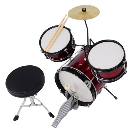 "3pcs 12"" Junior Kids Child Drum Set Kit Musical Instrument w/ Sticks Throne Cymbal Bass Snare Boy Girl"