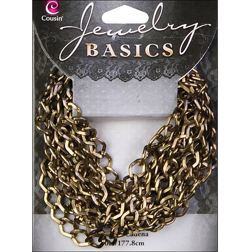 Jewelry Basics Metal Chain 1/Pkg-Antique Gold Small Diamond 70""