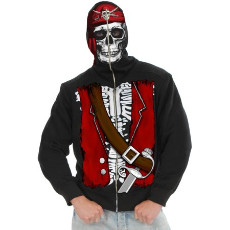Mens Dead Pirate Skull Hoodie Costume - Pirate Makeup For Men