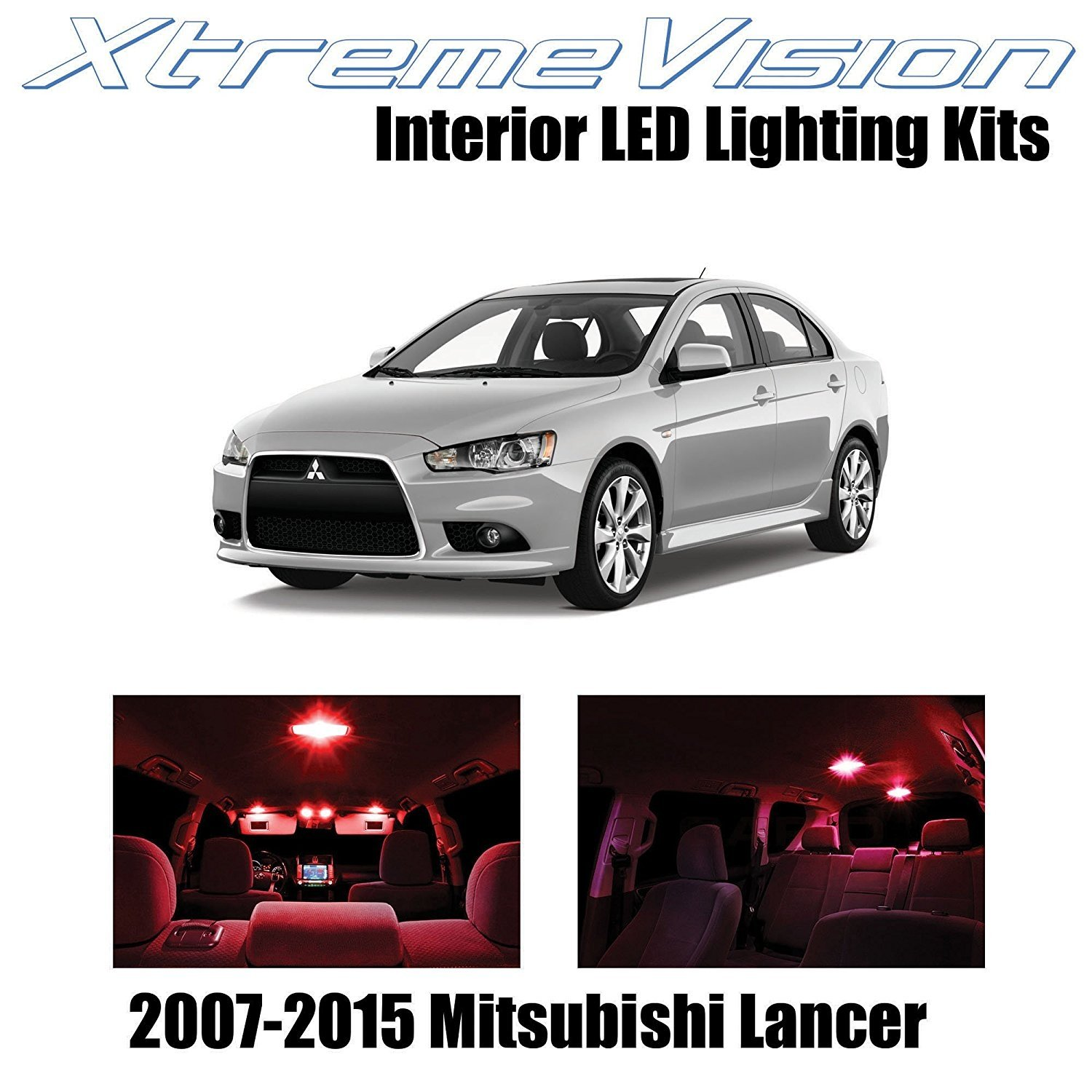 XtremeVision LED for Mitsubishi Evo Lancer 2007-2015 (8 Pieces) Red Premium Interior LED Kit Package + Installation Tool