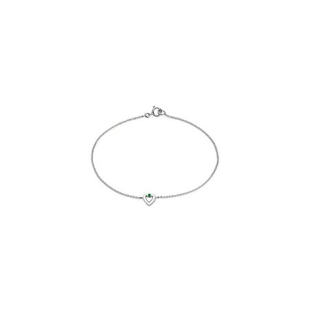Polished Heart Necklace in 14K White Gold with Green Emerald 0.10 Carat - image 6 de 6