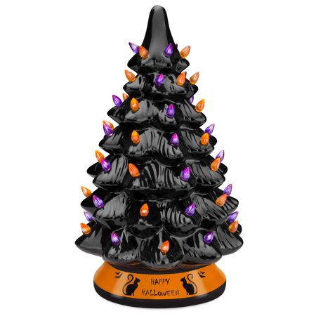 Indoor Halloween Decoration Crafts (Best Choice Products Pre-Lit 15in Ceramic Halloween Tree Holiday Decoration w/ Orange & Purple Bulb)