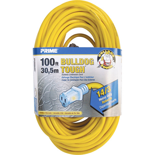 Prime Wire and Cable 100-Foot 14/3 Sjtow Bulldog Lighted Outdoor Extension Cord