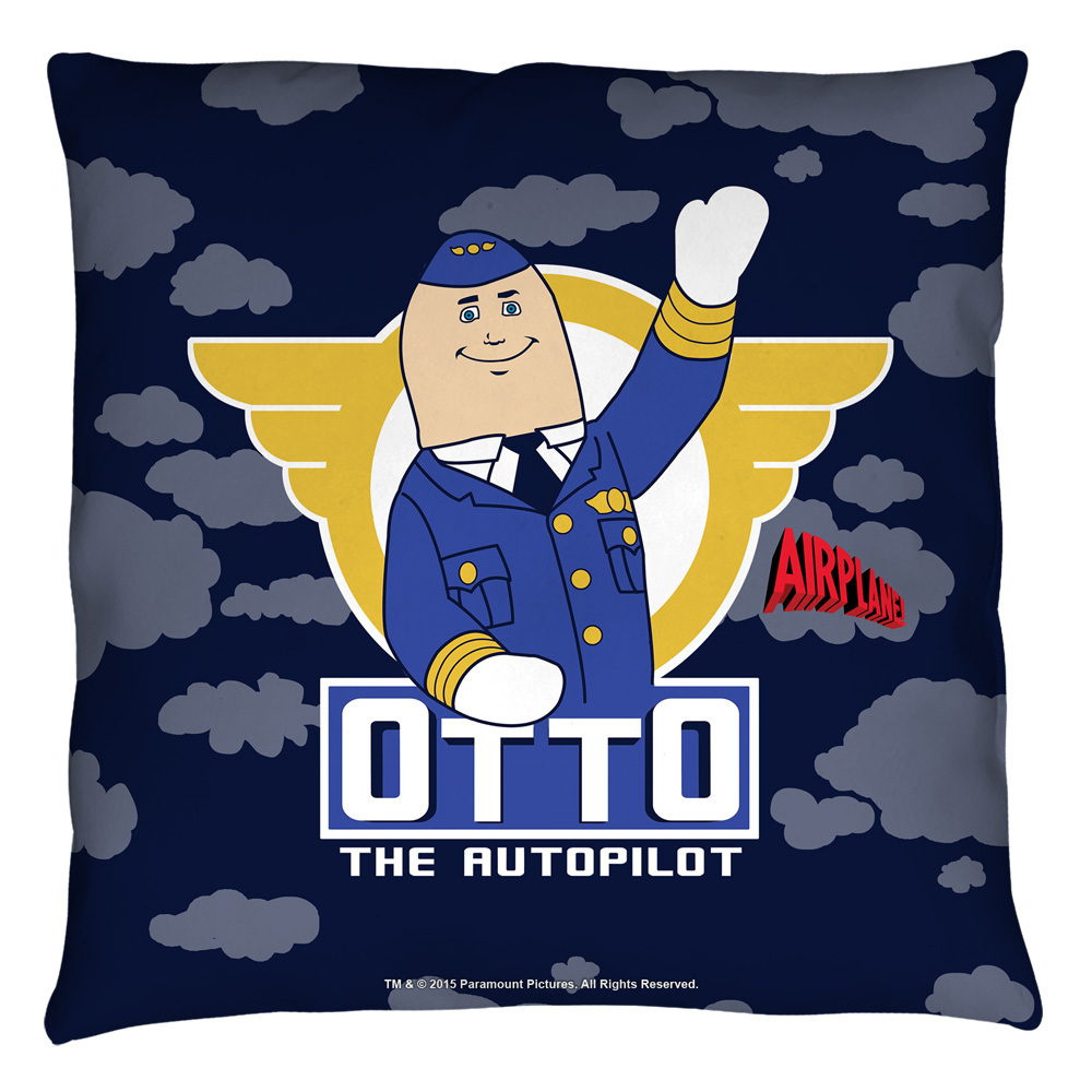 Airplane Otto Throw Pillow White 18X18