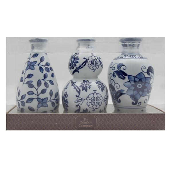 "3pc Ceramic Vase Set 6""Blue White by n/a"