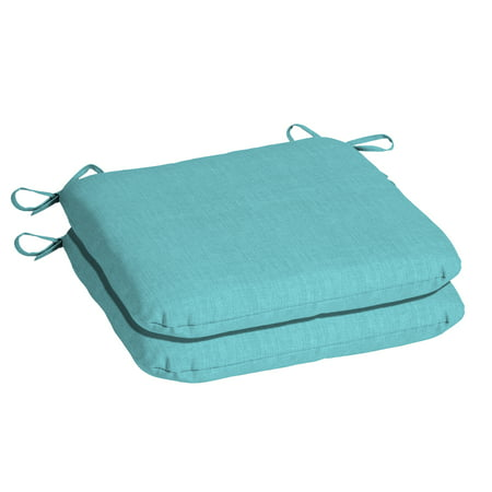 Mainstays Solid Turquoise 15.5 x 17 in. Outdoor Dining Seat Cushion, Set of 2 ()