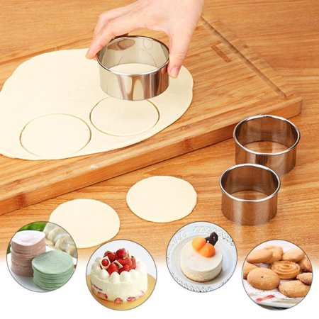 Jeobest 3PCS Dumpling Wrapper Cutter - Round Dumpling Wrappers - Dumpling Wrapper Maker - 1 Set Stainless Steel Round Dumplings Wrappers Molds Set Cutter Dough Cutting Tool - Oval Fluted Dough Cutters