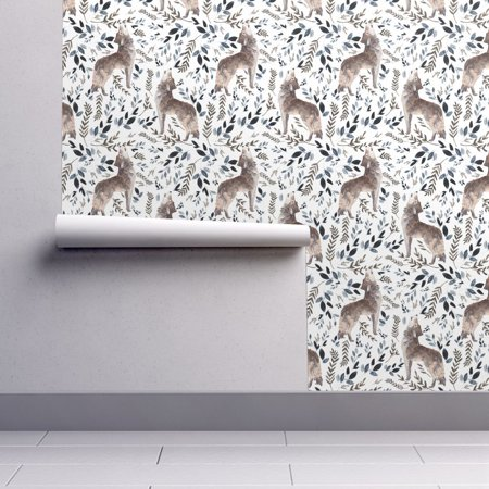 Removable Water-Activated Wallpaper Wolf Wolf Foliage Gray Wolf Trees Woodland for $<!---->