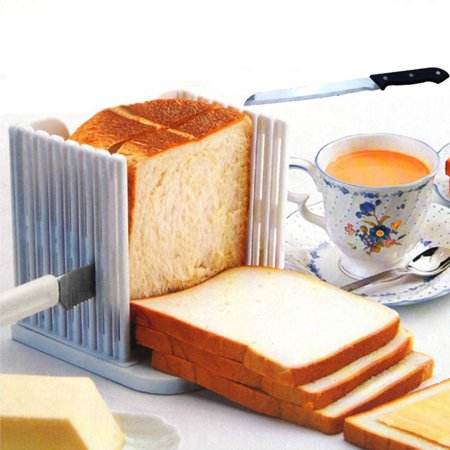 Bread Slicer Cutter Foldable and Adjustable Bread Toast Slicer Bagel Slicer Loaf Sandwich Bread Slicer Toast Slice Cutter Mold Home Kitchen Breakfast Gadgets ()