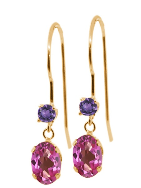 1.22 Ct Oval Pink Mystic Topaz Purple Amethyst 14K Yellow Gold Earrings by