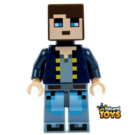 Lego Minecraft Skin 8   Pixelated  Dark Blue Jacket And Bright Light Blue And Sand Blue Legs Minifigure