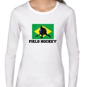 Brazil Olympic - Field Hockey - Flag - Silhouette Women's Long Sleeve T-Shirt