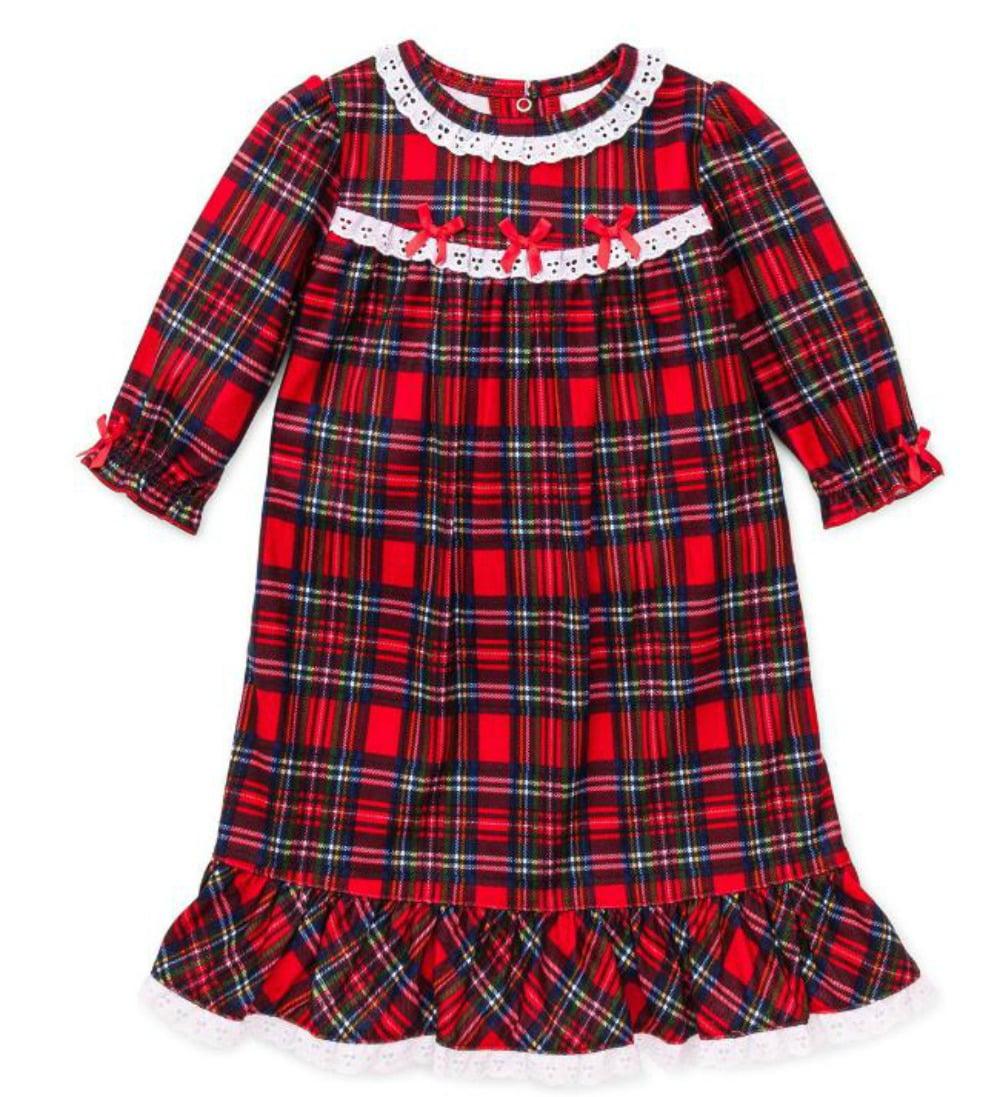 little me girls christmas pajamas toddler red plaid nightgown 2t walmartcom