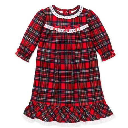 Girls Christmas Pajamas   Toddler Red Plaid Nightgown  4T