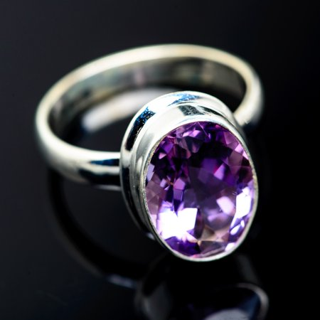Faceted Amethyst Ring Size 9.25 (925 Sterling Silver)  - Handmade Boho Vintage Jewelry RING958967 ()