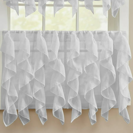 "Sheer Voile Vertical Ruffle Window Kitchen Curtain 24"" Tier Pair"