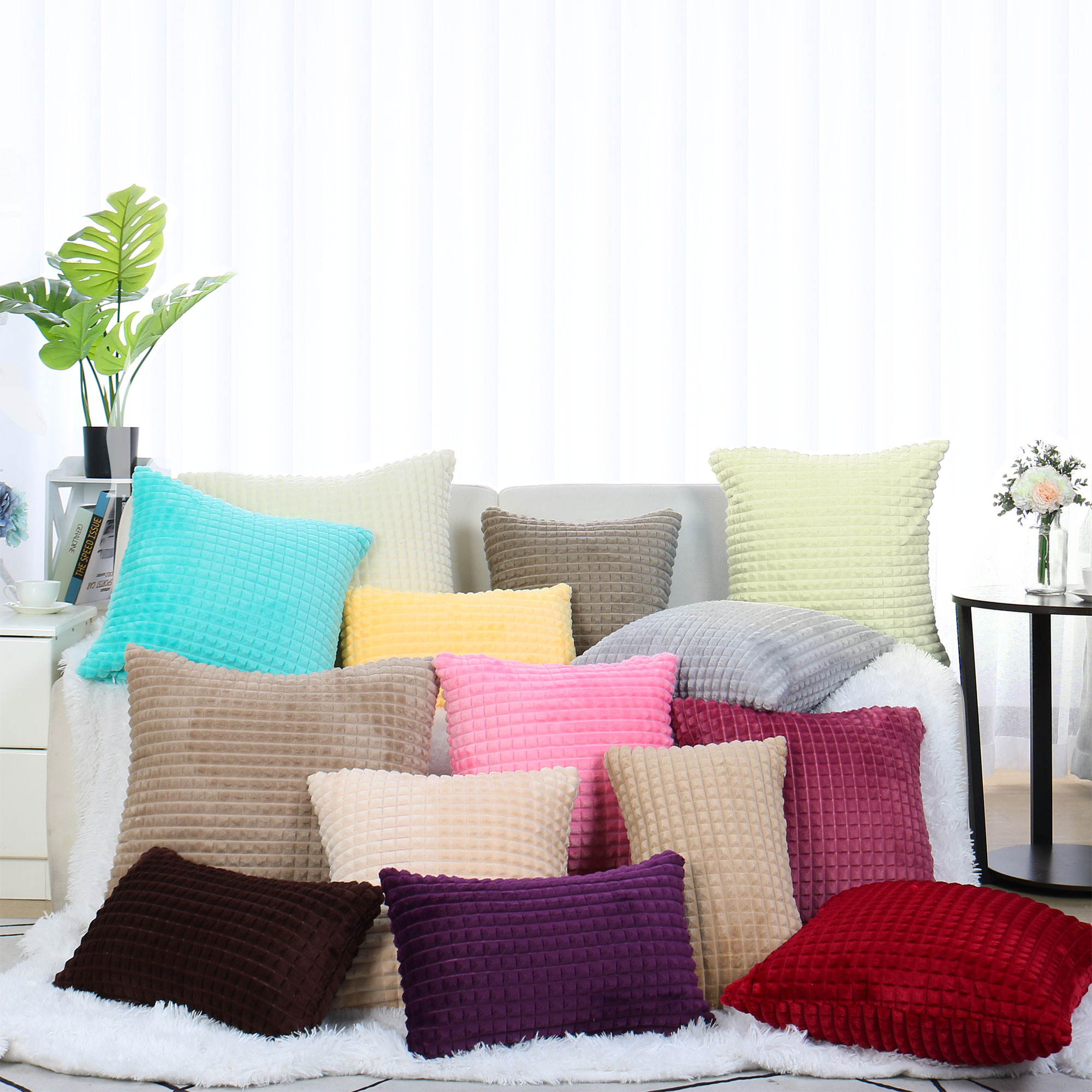 Plush Throw Pillow Cover Fluffy Cushion Cover (12 x 20 Inch, Light Yellow)