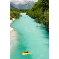 Kayaking on the Beautiful Turquoise Soca River in the Triglav National Park in Slovenia. Print Wall Art By Michael Thaler