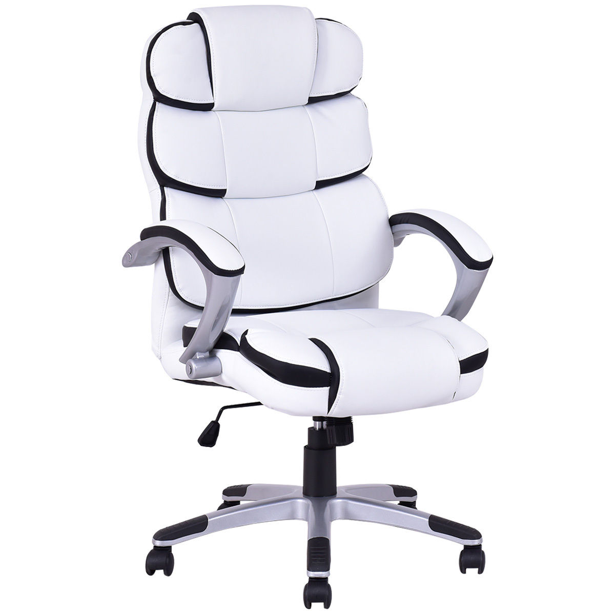 Costway Ergonomic PU Leather High Back Executive Computer Desk Task Office  Chair White