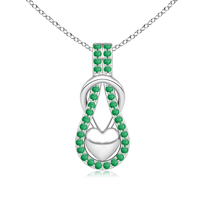 Angara Infinity Knot Natural Emerald Solitaire Necklace for Her in Platinum DuOm6