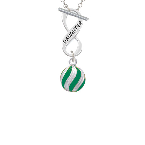 3-D Green and Striped Ornament Daughter Infinity Toggle Chain Necklace