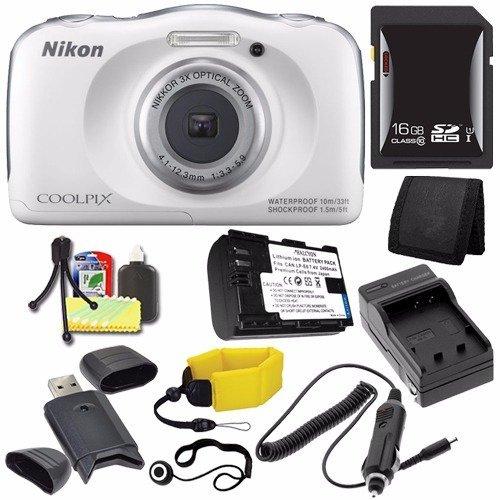 Nikon COOLPIX S33 Digital Camera (White) (International Model No Warranty) + EN-EL19 Battery + External Charger + 16GB SDHC Card + Floating Strap + Card Reader + Card Wallet Saver Bundle