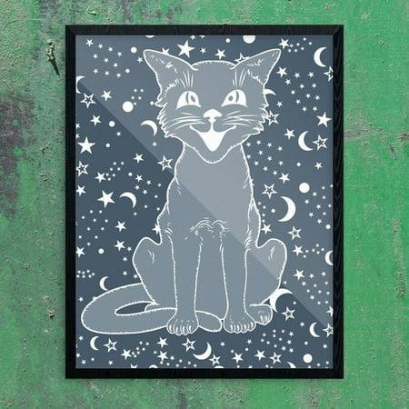 Wrought Studio 'Vintage Halloween Cat on Navy' Graphic Art - Vintage Halloween Graphics