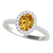 MauliJewels Engagement Rings for Women 2.45 Carat Diamond and Oval Shaped Citrine Ring 4-prong 10K White Gold Gemstone Wedding Jewelry Collection