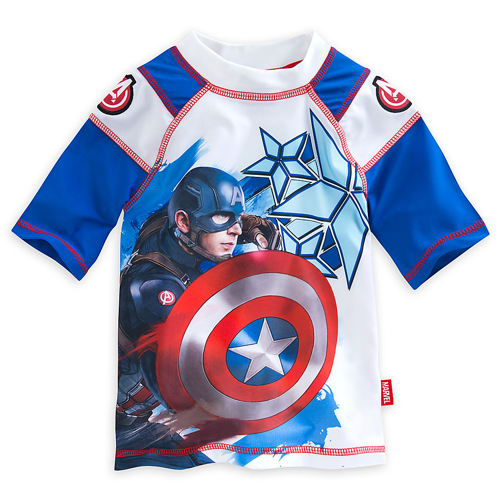 "Disney Store Captain America Civil War ""Waves of Support"" Rash Guard for Boys"