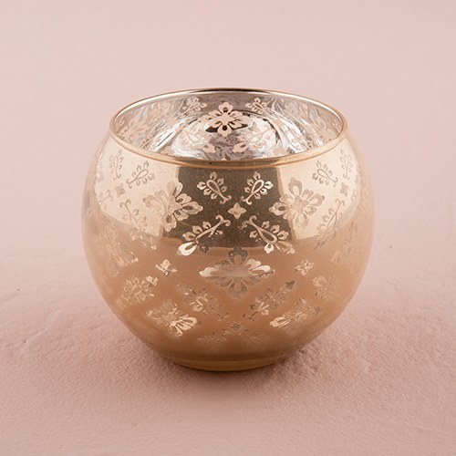 Large Silver Glass Globe Votive Holder With Lace Pattern