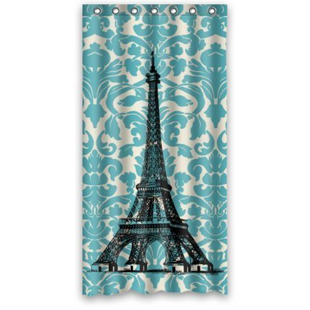 DEYOU Vintage French Turquoise Damask Floral Swirls With Paris Eiffel Tower Art Shower Curtain Polyester Fabric