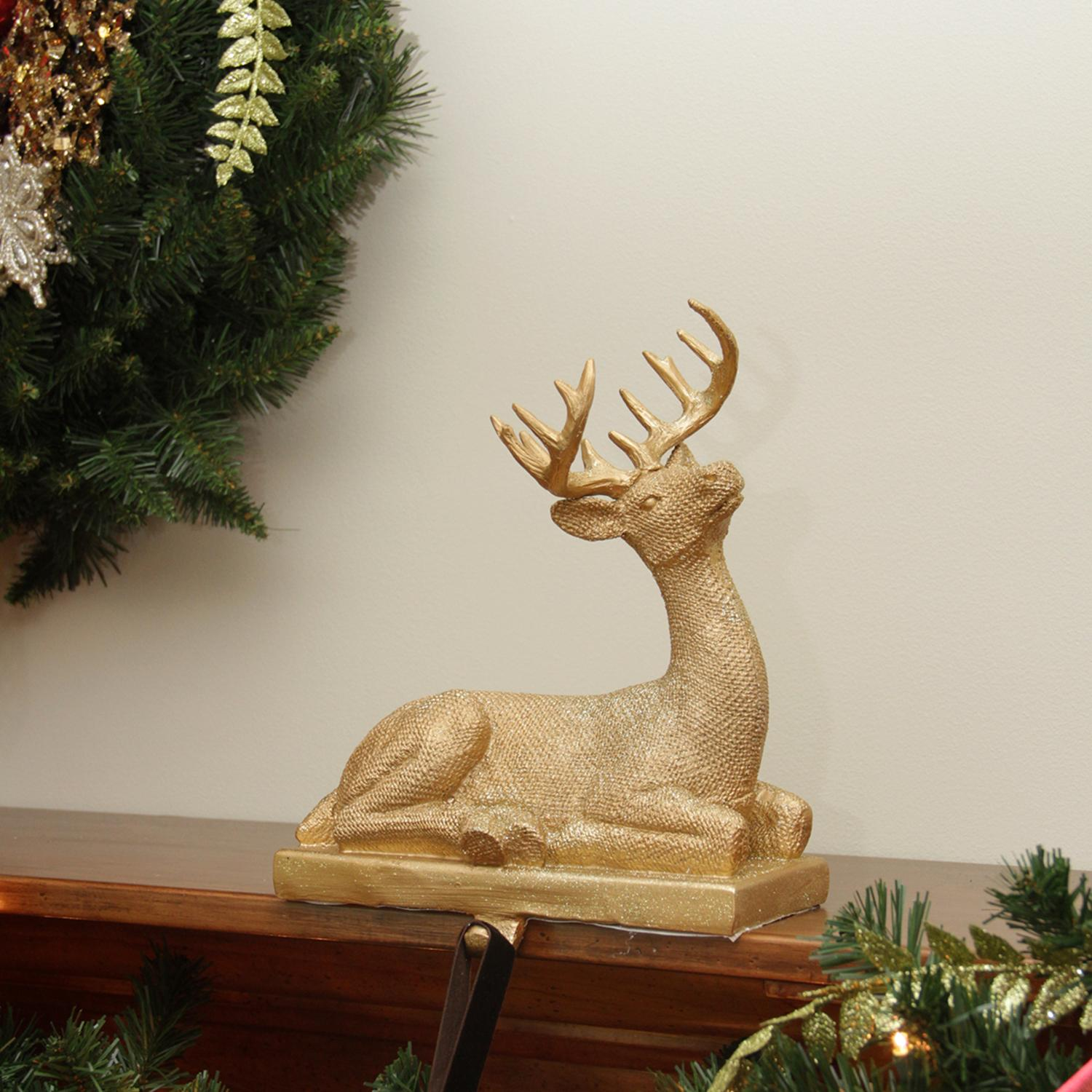 "10"" Embellished Gold Lodge Style Sitting Deer Decorative Christmas Stocking Holder"